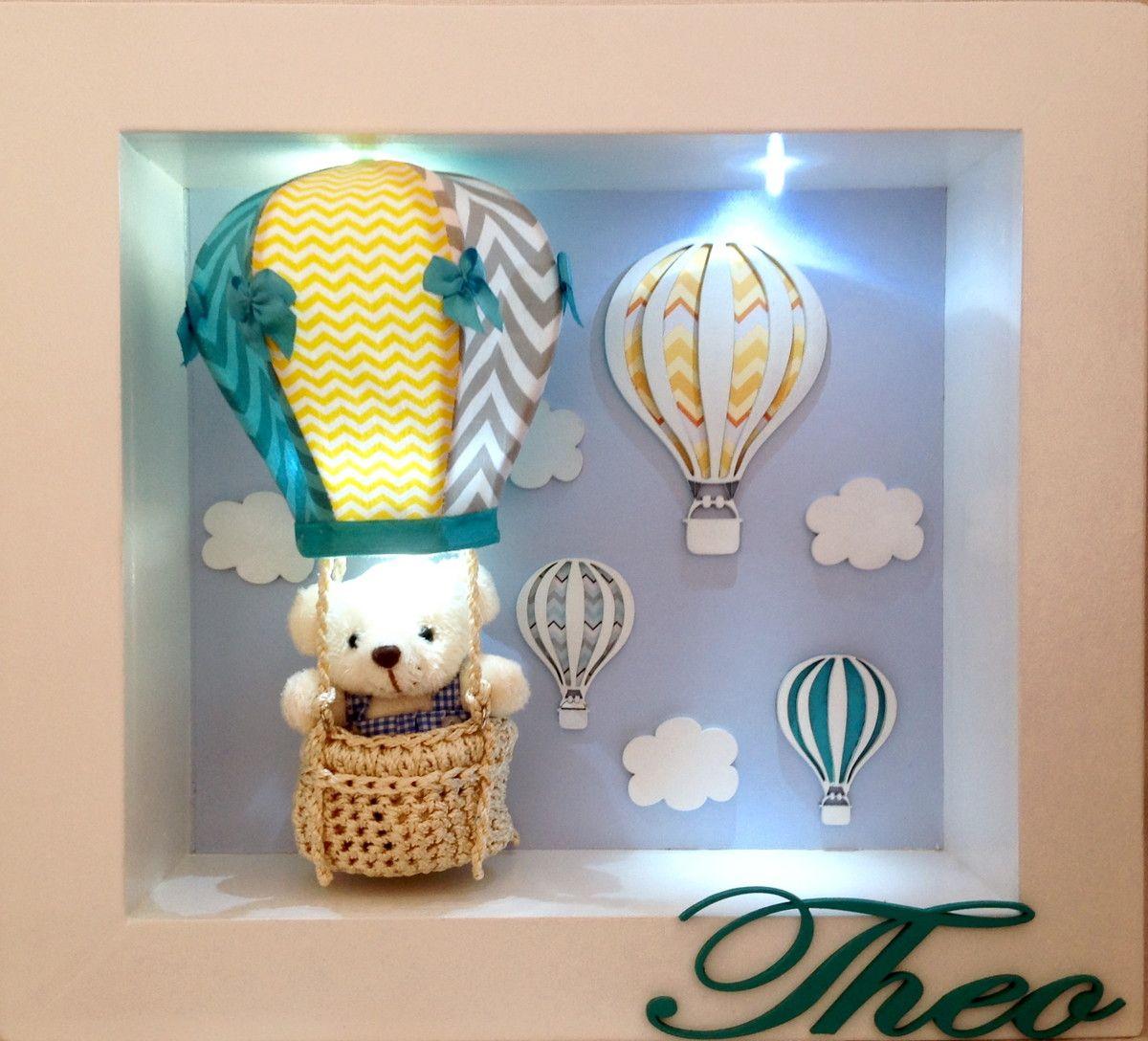 Enfeite para porta de maternidade e para quarto de menino. Balão de ar  quente feito com tecido e possui LED dentro. Garantia  3 meses b95a527267c38