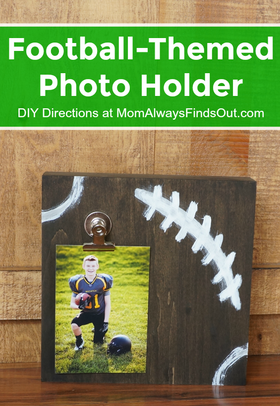 3f1661020a43 Proudly display your football team photo in this football-themed photo  holder. Create a DIY picture stand in minutes with this easy tutorial.