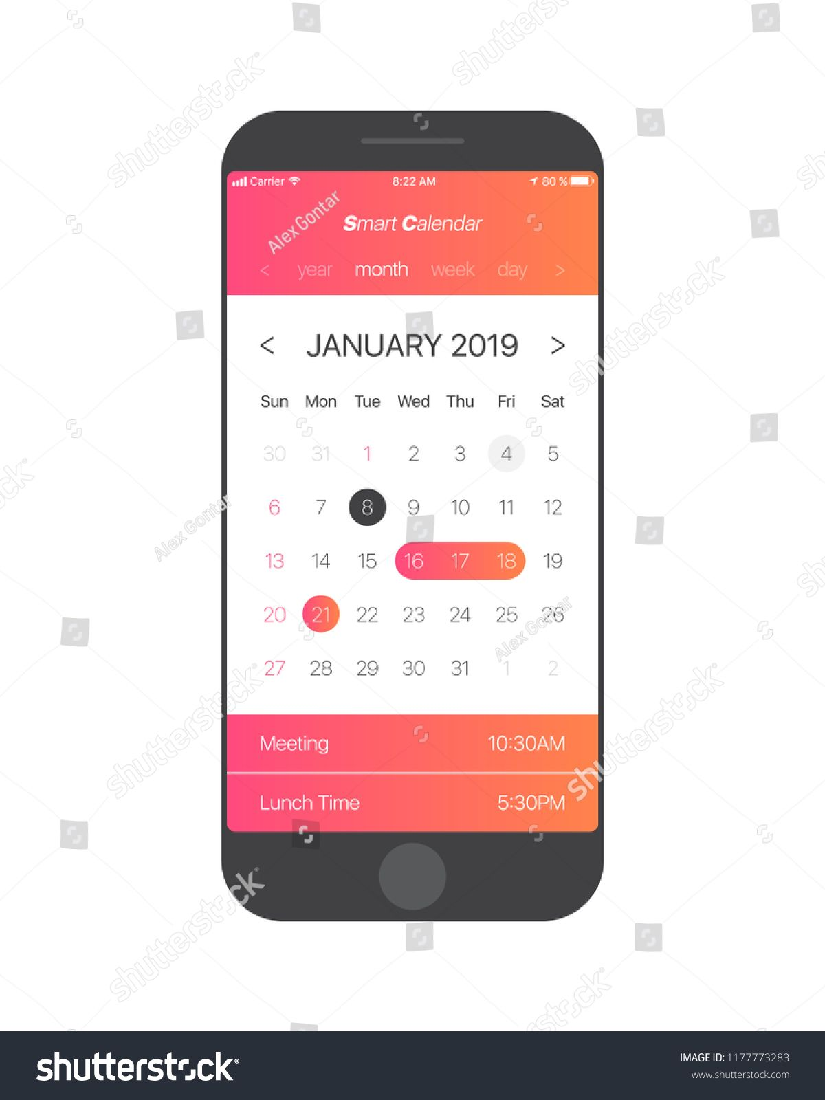 IPhone Apple IOs and Android Smart Calendar App Concept