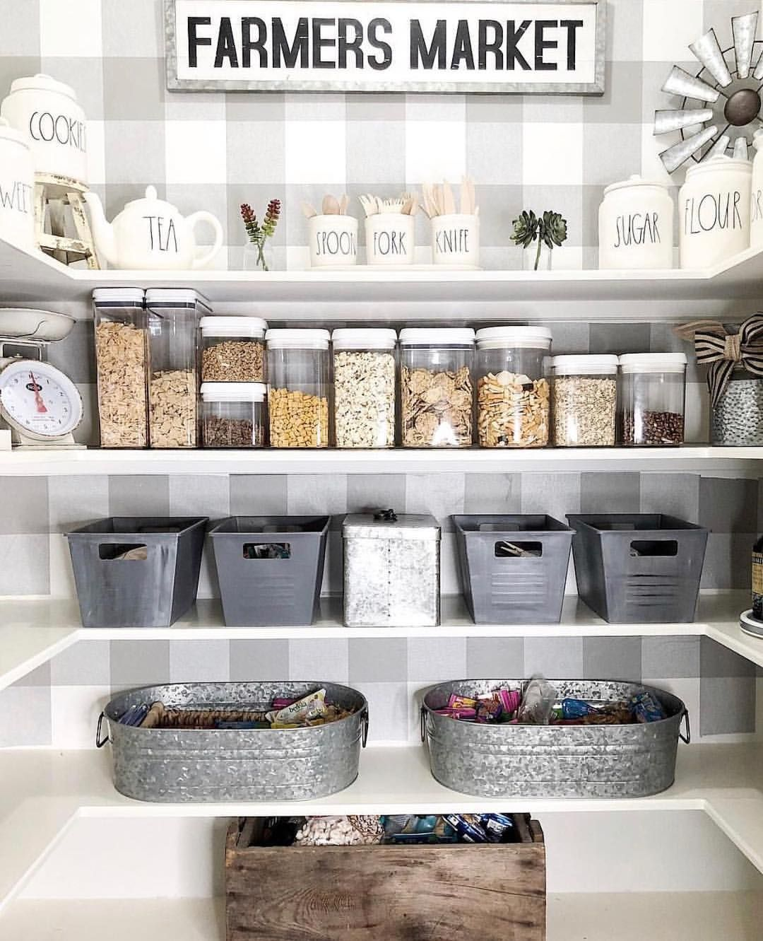 I M Not Sure What I Love More The Raedunn On The Top Shelf Or The Adorable Gingham Wallpaper In This Pantry Wallpaper Diy Pantry Organization Farmhouse Pantry