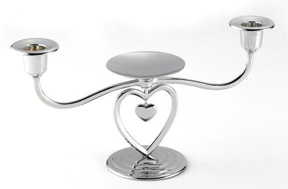 Heart Unity Candle Stand with White Tapers