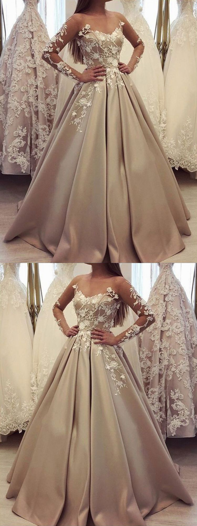Gorgeous Ball Gown Scoop Long Sleeves Lace Champagne Long Prom Dresses Quinceanera Dresses Pd0927007 Prom Dresses Long With Sleeves Champagne Prom Dress Prom Dresses With Sleeves [ 1998 x 750 Pixel ]
