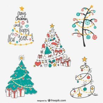 Pack De Dibujos De Arboles De Navidad De Colores Imagenes Cute