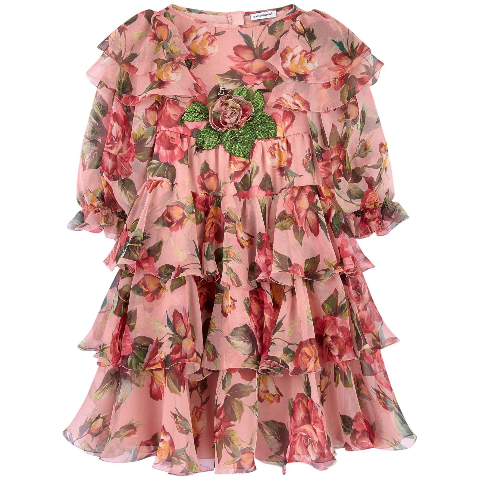 3da7564348ae Flower-printed silk voile dress Dolce   Gabbana for girls