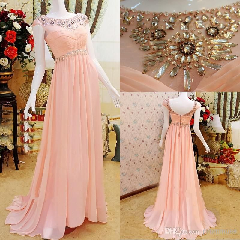 Cheap Luxury Dress - Discount 2014 Newest Luxury Pink a Line Sheer Scoop Online with $126.39/Piece | DHgate