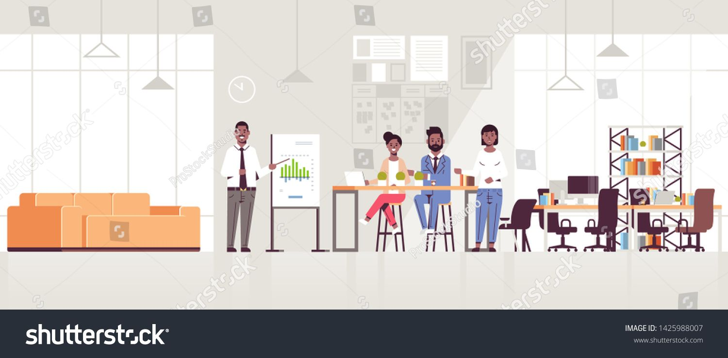 businessman presenting financial graph on flip chart to african american businesspeople team at conference meeting presentation concept modern coworking office interior f...