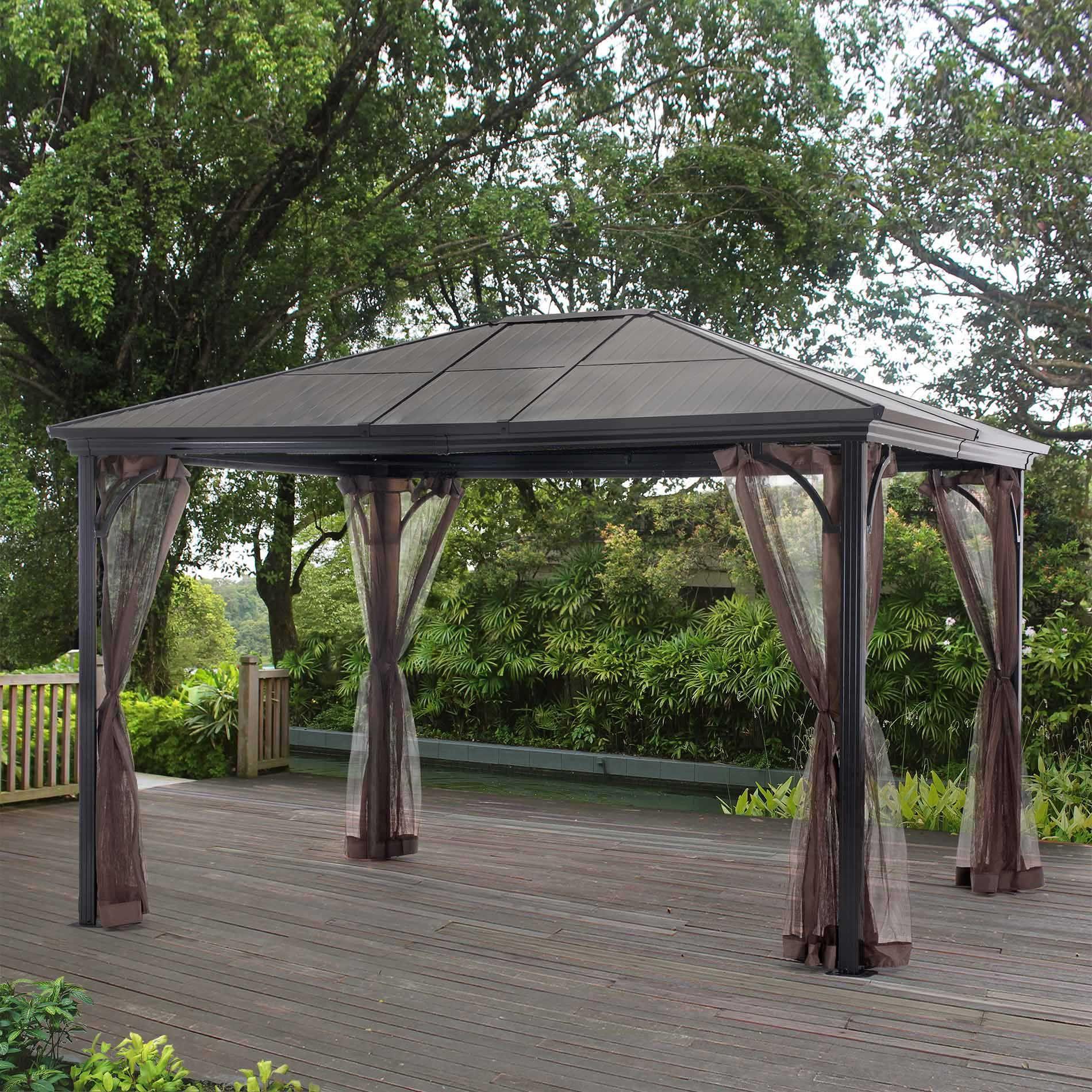 Grand Resort Sunland Park 10 X 12 Steel Roof Gazebo With Netting