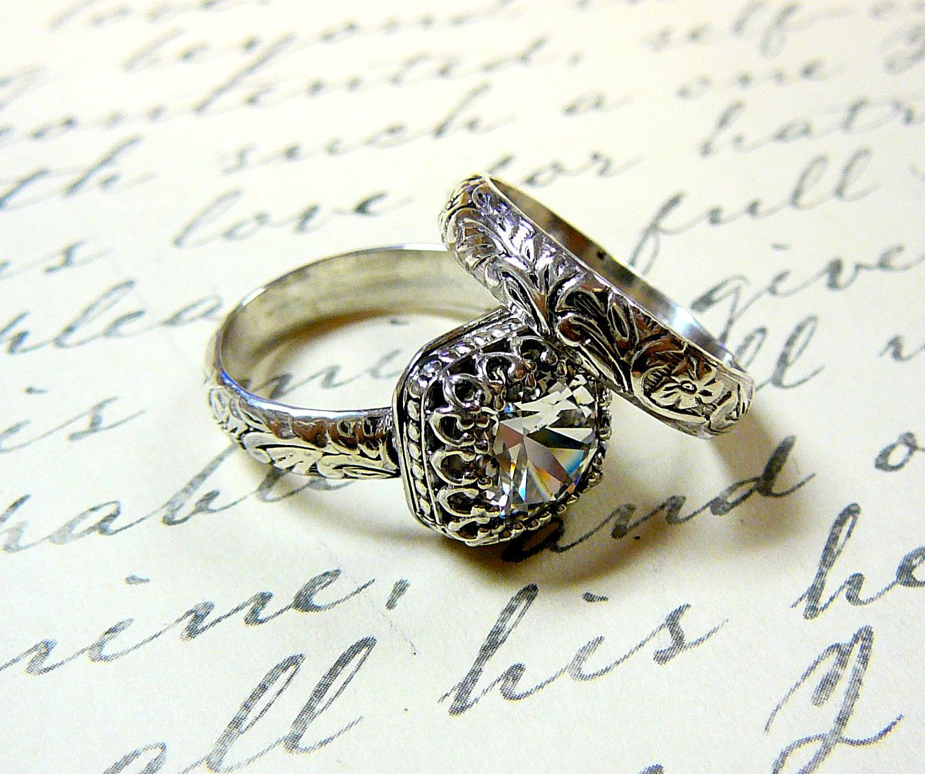 Vintage Engagement Sterling Silver Swarovski Crystal Ring