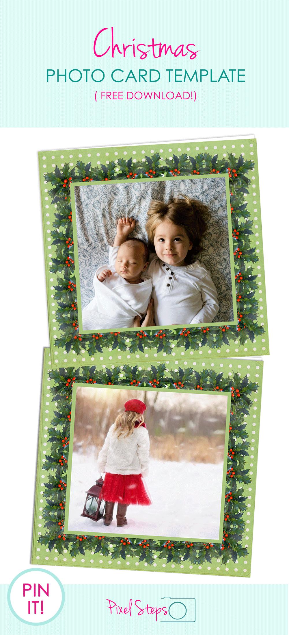 Christmas Card Template; Free Printable Photo Greeting