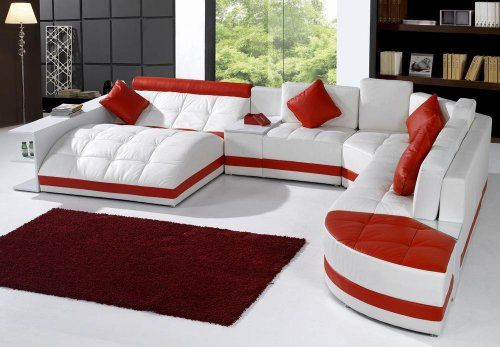 Tosh Furniture Miami Contemporary Leather Sectional Sofa Set - White ...