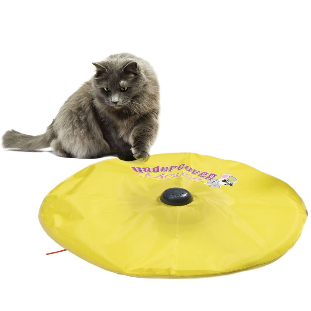 "The Cat's Phantom Mouse Teaser - Hammacher Schlemmer - This is the cat toy that entertains and exercises felines by encouraging them to stalk an elusive ""mouse"" scurrying beneath a fabric skirt."