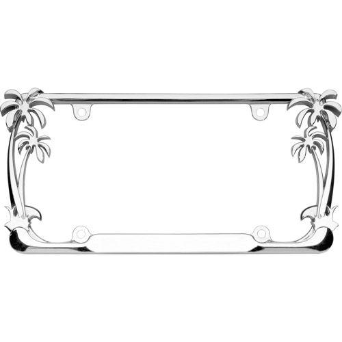 palm tree license plate frame  chrome