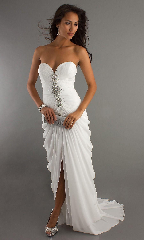 Elegant white cocktail dress sexy sweetheart beading high low
