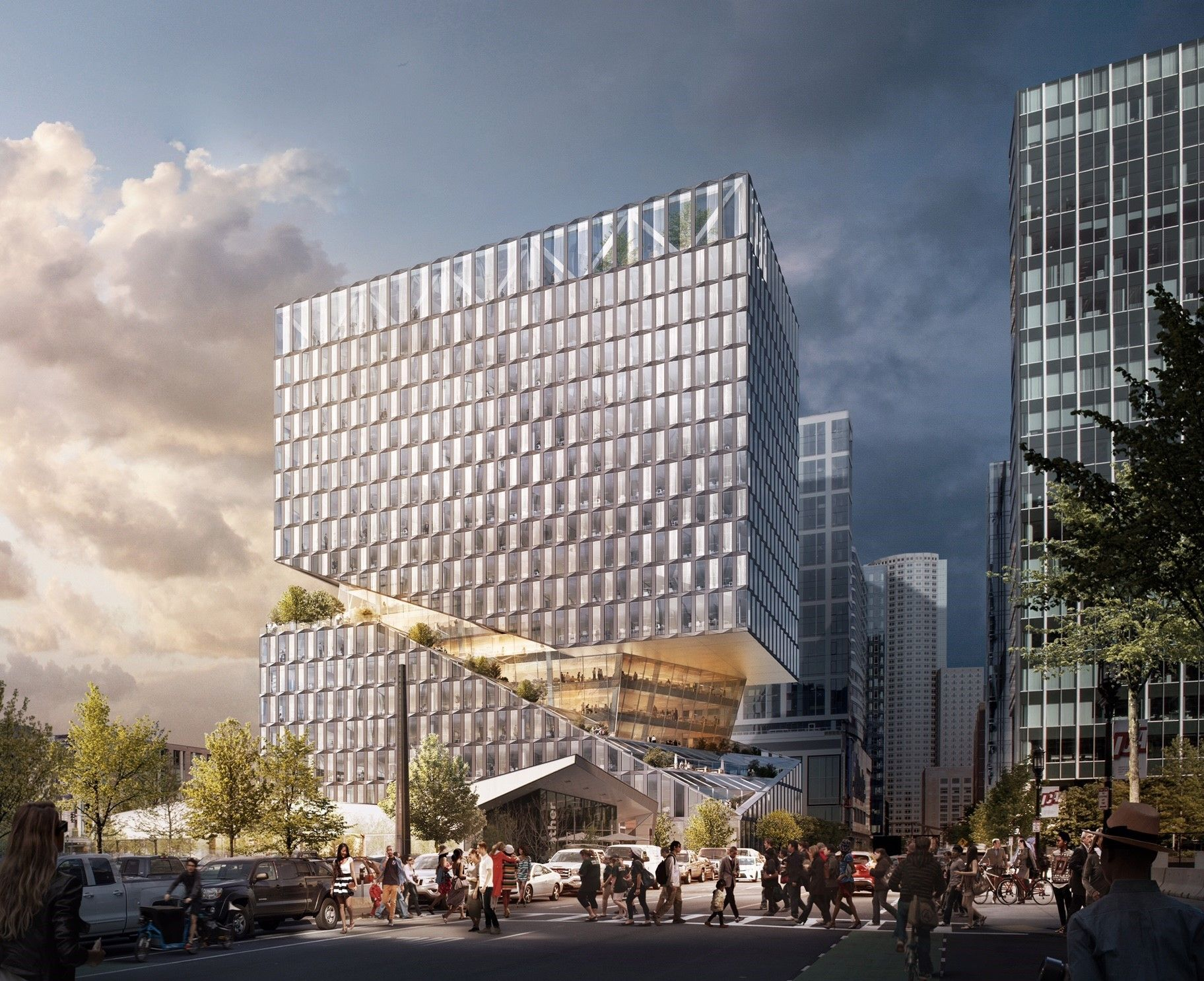 OMA Designs Carved Mixed Use Building for Boston Seaport