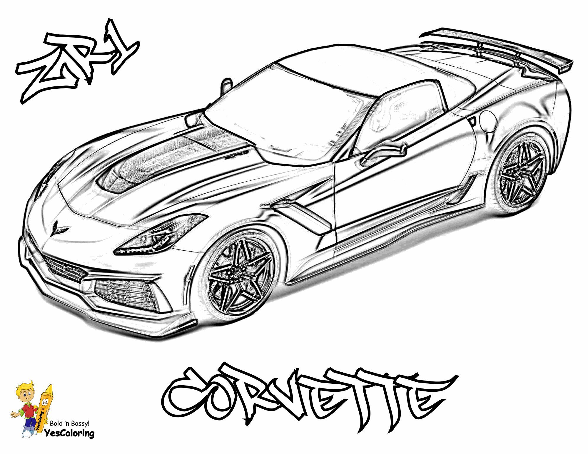 Print Out This Corvette Car Coloring Page! (Top View)
