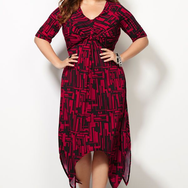 Knot Print Sharkbite Dress-Plus Size Dress-Avenue