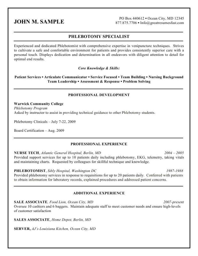 Sample Phlebotomist Resume Latest Format Phlebotomy Samples Entry