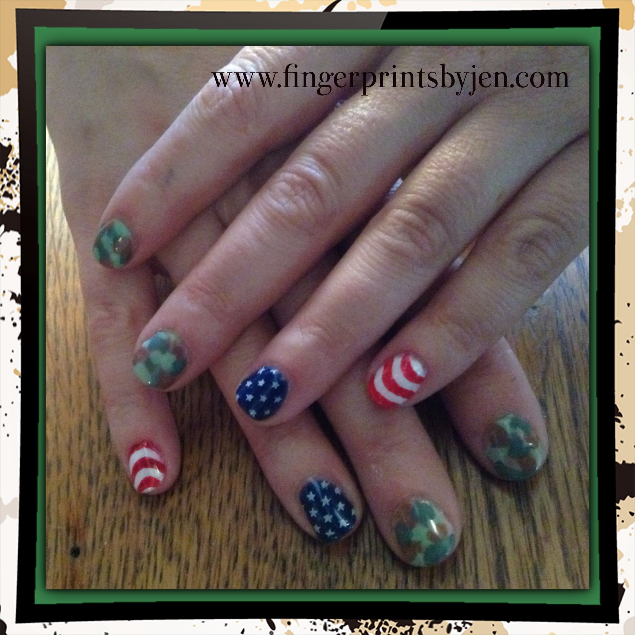 Forth of July nail art with camo in no chip | Manicure designs ...