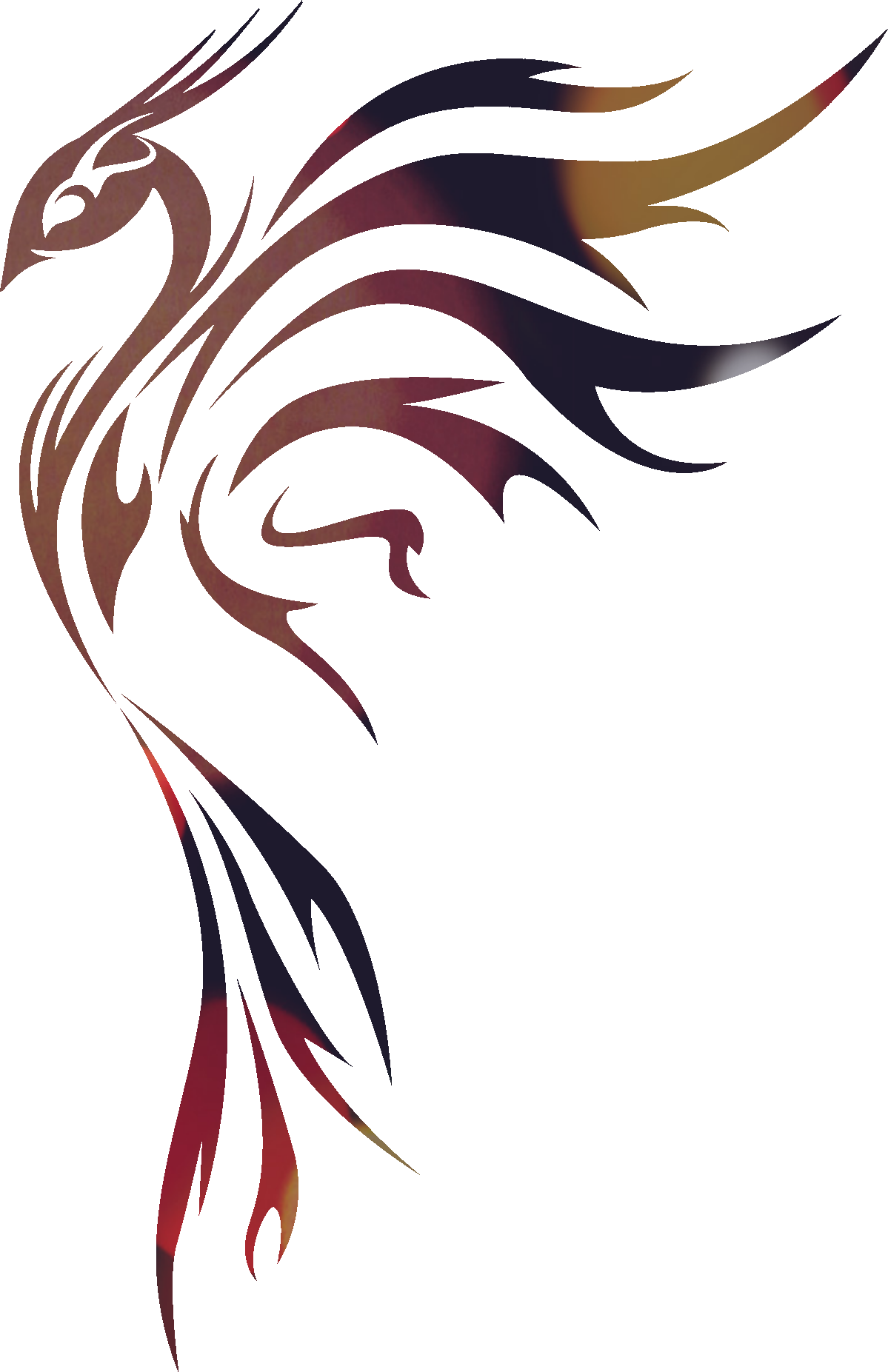 Tribal Bird Gradient Colours Risunki Ptichki Chertezhi