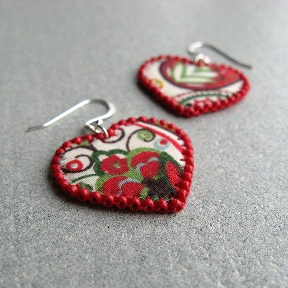 Caravan Girl Red Heart Fabric Earrings by TheCrimsonMoon on Etsy | Craft Juice