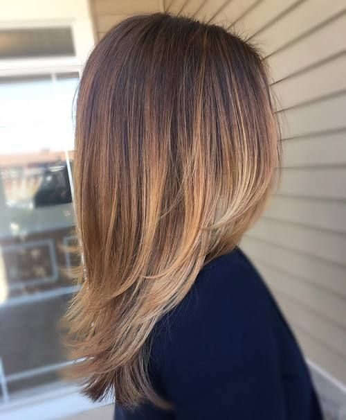 Straight medium length layered dark hair with pale blonde balayage hair coloring straight medium length urmus Choice Image