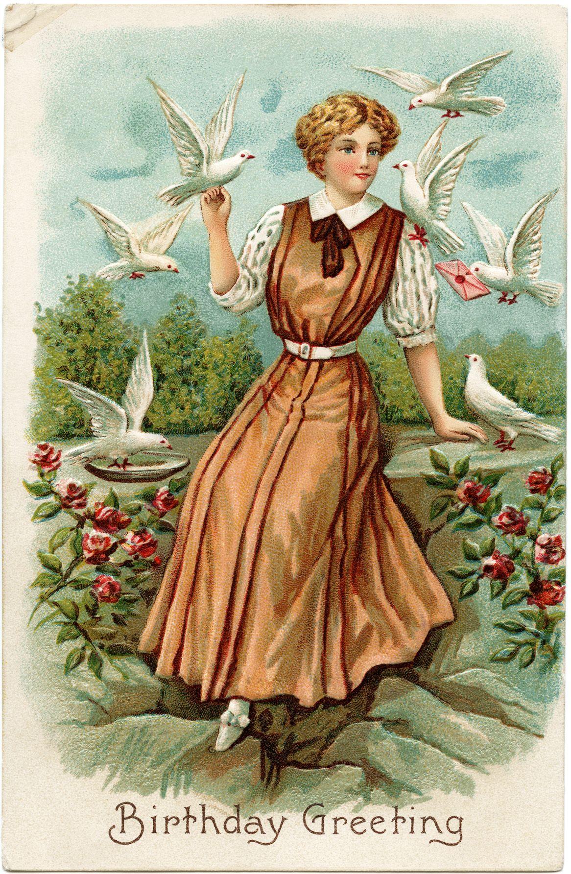 Lady and Birds Vintage Birthday Greetings Postcard