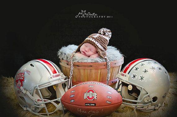 Crochet Baby Football Pom Pom Earflap Hat  Photo by crochet2love1, $16.00