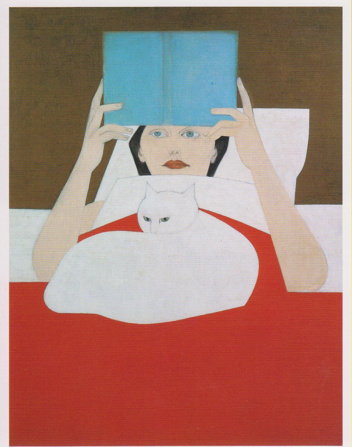 Wil Barnet postcard -- Girl w/ Book & Cat