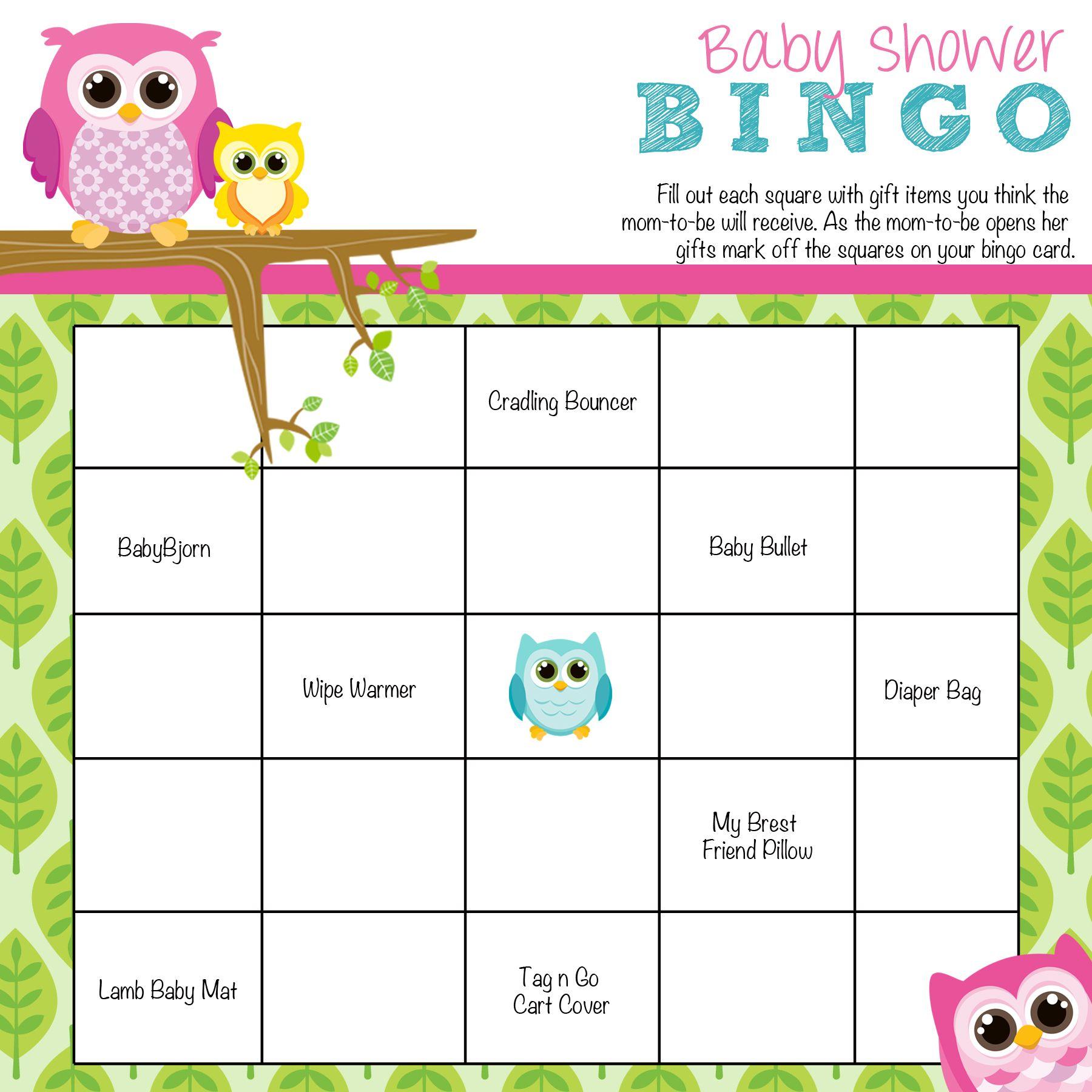 Owl Baby Shower Bingo
