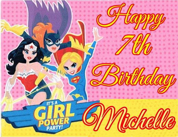 JUSTICE LEAGUE GIRLS cake topper image decoration Party Birthday ...