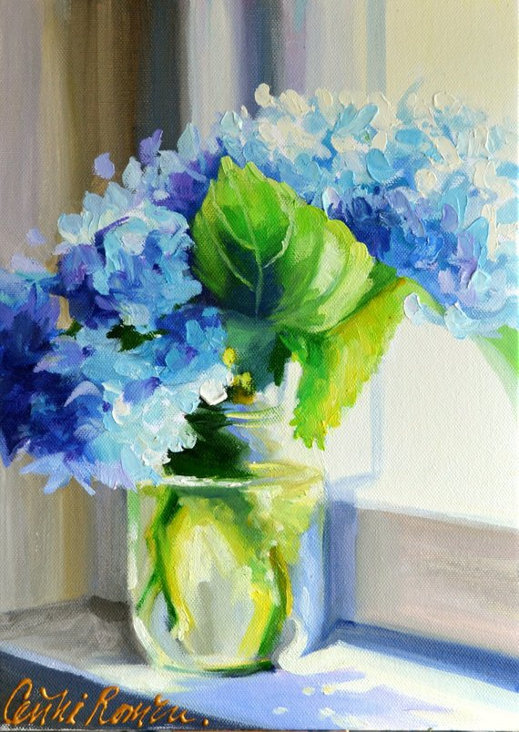 FLORAL Art Print of Blue Hydrangea   Shabby Chic still life painting in blue by Cecilia Rosslee   Perfect gift for mom