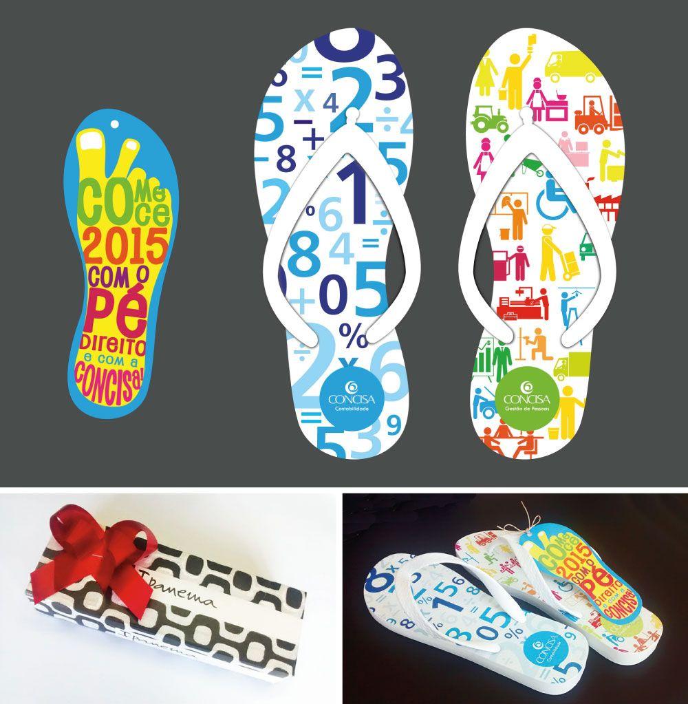 Cliente: Concisa Material: Chinelos personalizados + cartão - brinde para clientes Agência: BAG propaganda