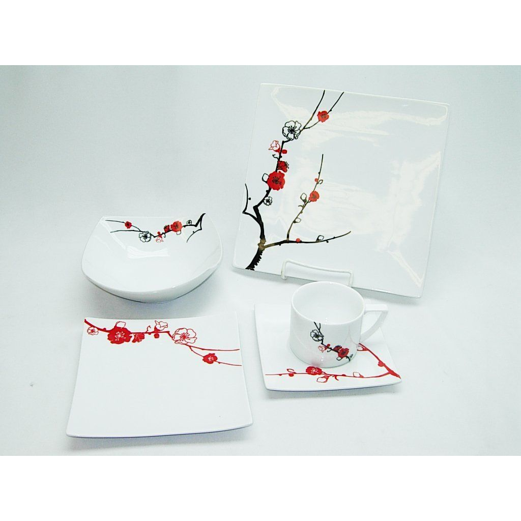 5-piece Dinnerware and Serving Set for 4 Three Star Cherry-blossom Japanese  sc 1 st  Pinterest & 5-piece Dinnerware and Serving Set for 4 Three Star Cherry-blossom ...