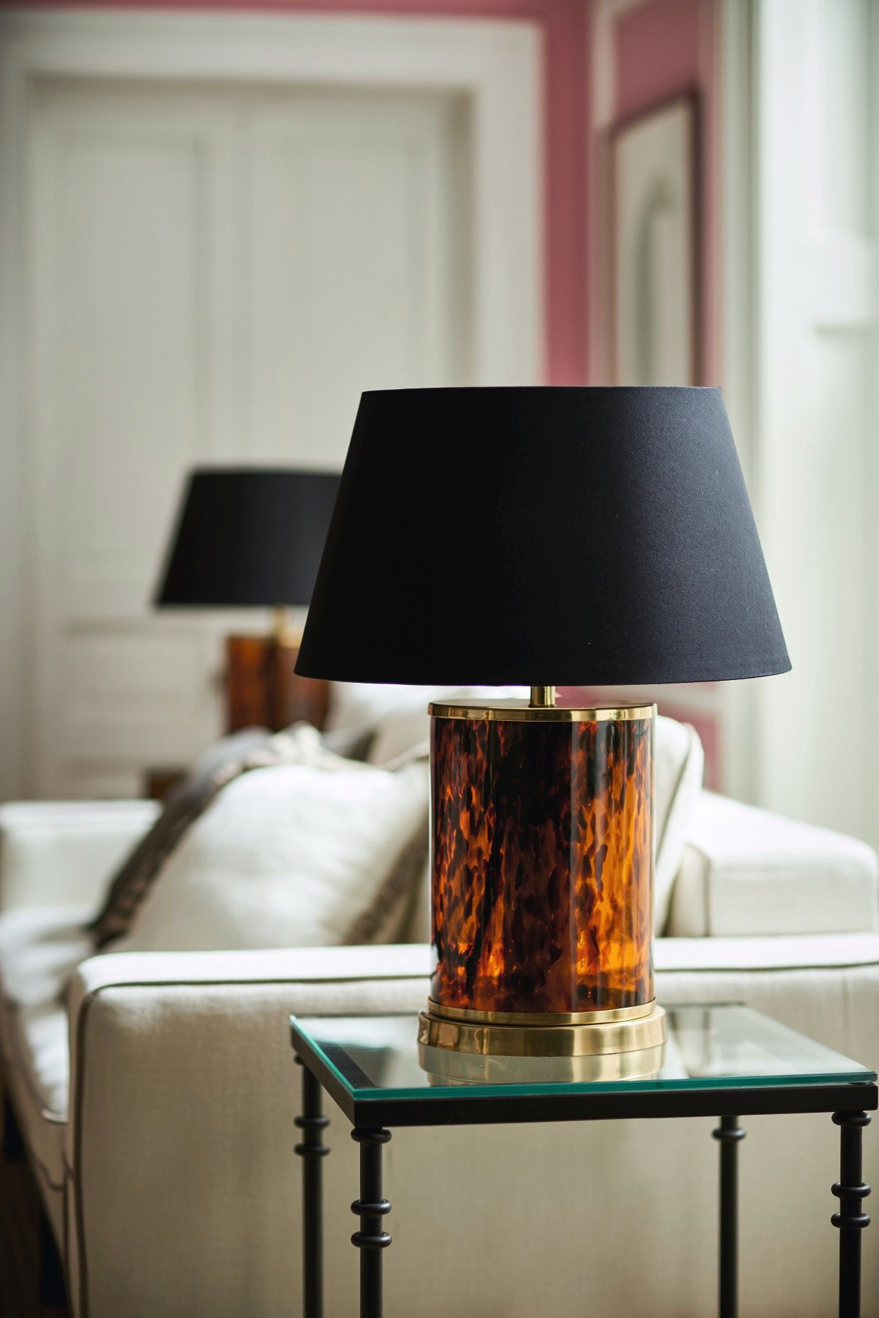 Wide Tortoiseshell Column Lamp Multi in 2020 | Lamp, Glass