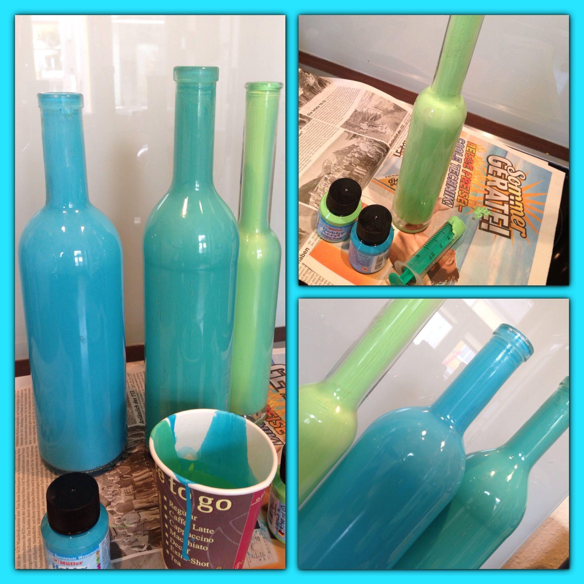 Sch ne dekoflaschen oder vasen selber machen einfach acrylfarbe nach farbwunsch mischen mit - Leere flaschen dekorieren ...