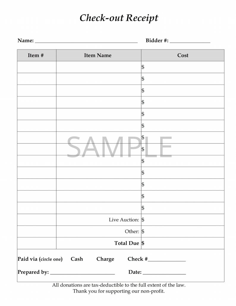 Charity Auction Receipt Template