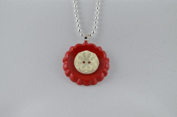 Sterling silver pendant necklace with red & antique white flower vintage buttons by two dot designs