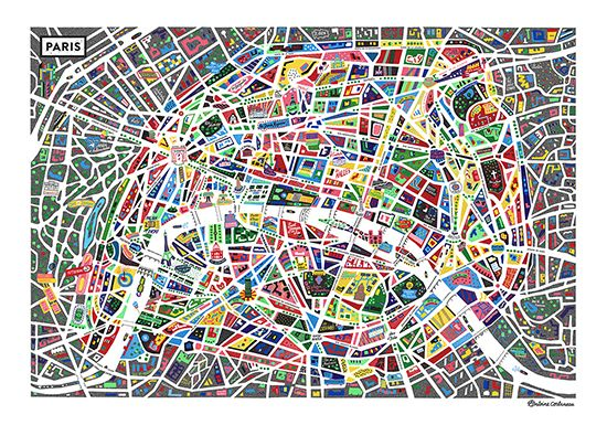 A Map of Paris, available in 50x70 or 70x100 posters, Antoine Corbineau