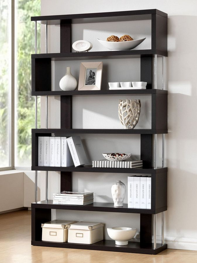 The Zhao Bookcase Delivers A Contemporary Design Inspired By Classic Feng Shui Forms Made Of Wenge Faux Wood Veneer Covering Engineered Frame With