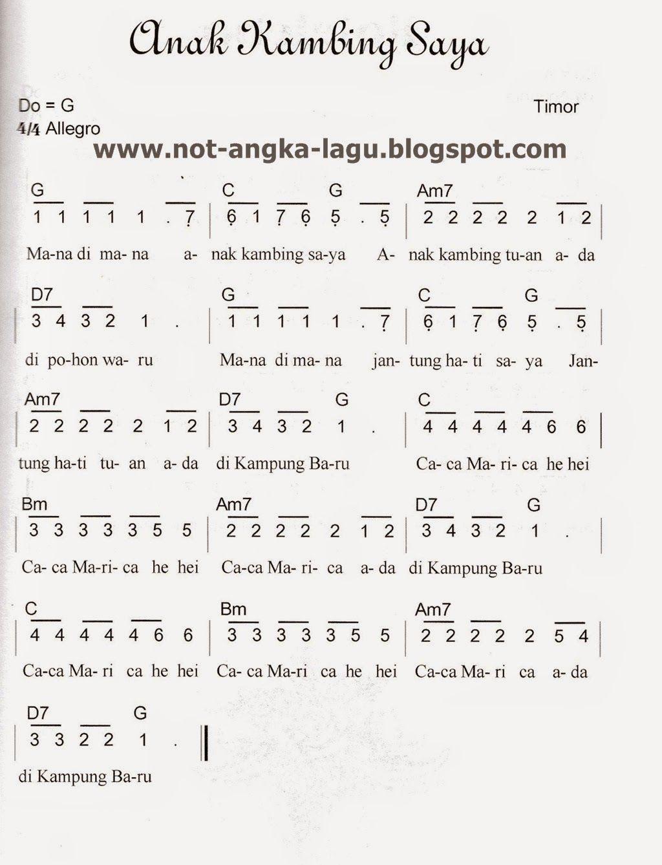 Not Lagu Anak Kambing Saya : kambing, Angka, Kambing, Kumpulan, Musik,, Lagu,, Lirik