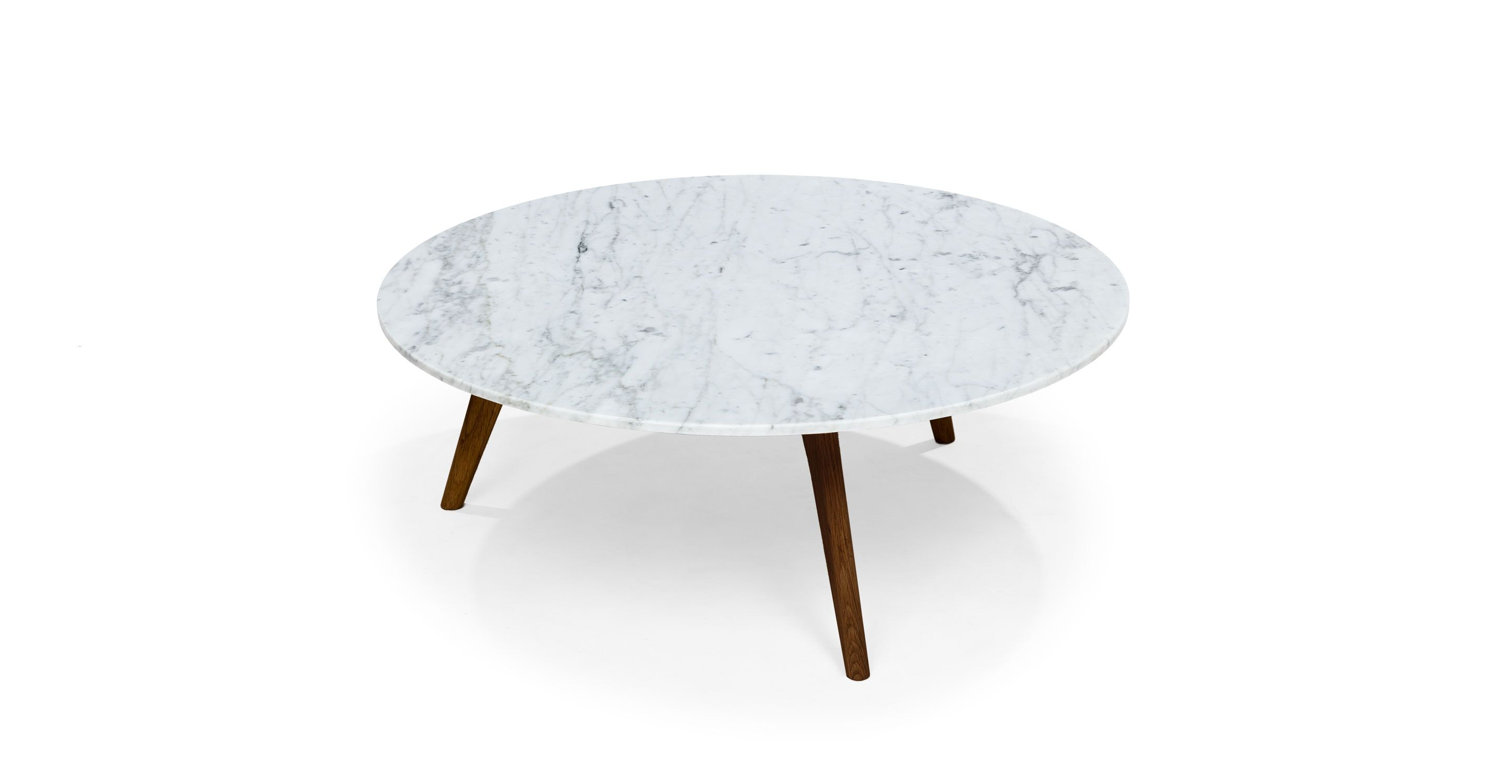 Round Marble Coffee Table In Solid Wood Walnut Article Mara - Walnut and marble coffee table