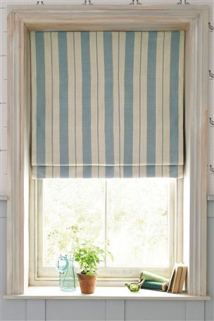 Buy Blue And Natural Woven Stripe Roman Blinds From The