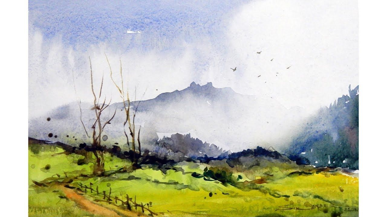 Watercolor Landscape Painting Youtube In 2020 Landscape