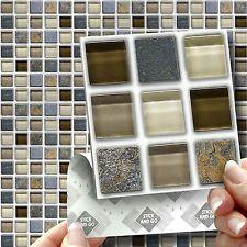 18 Stick U0026 Go Glass Stone Stick On Wall Tiles Stickers For Kitchen U0026  Bathroom
