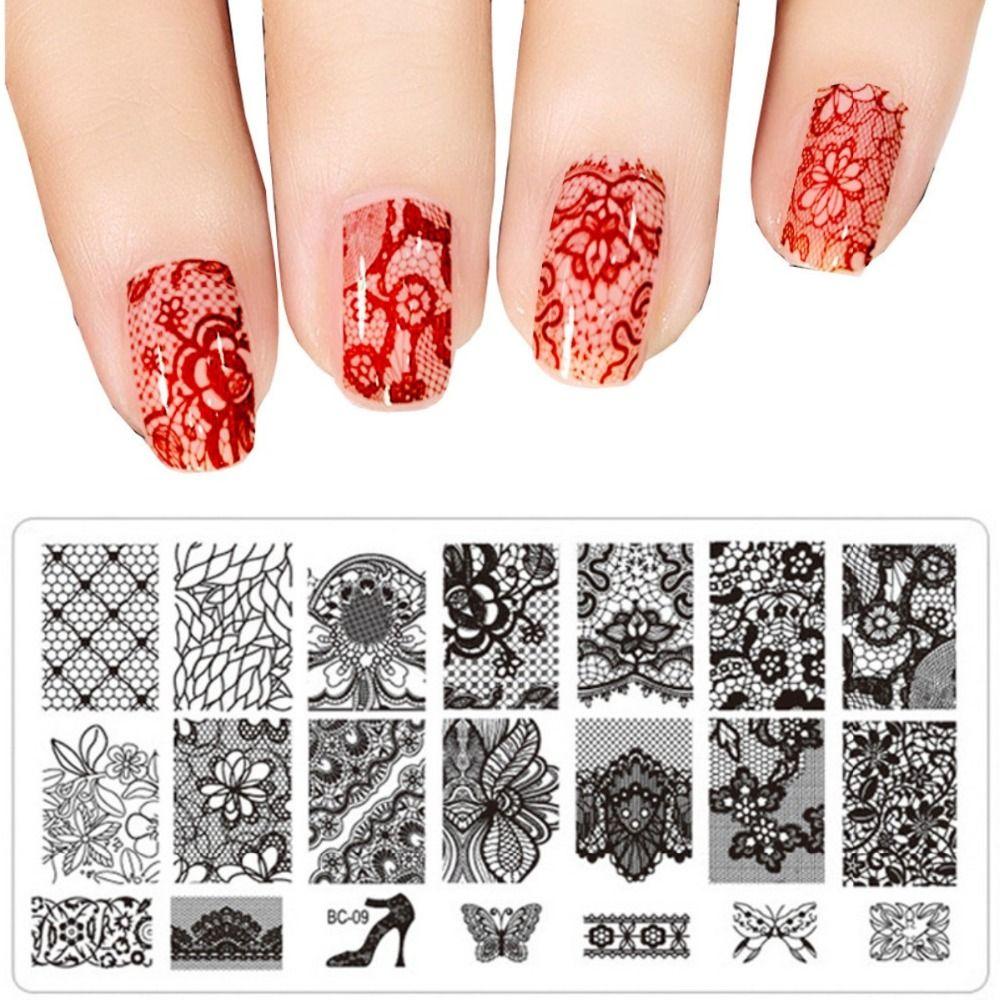 pcs DIY 1 네일 아트 이미지 검은 레이스의 꽃 디자인 도구 장비 우표 스탬핑 판 매니큐어 템플릿 31 선택을위한 스타일