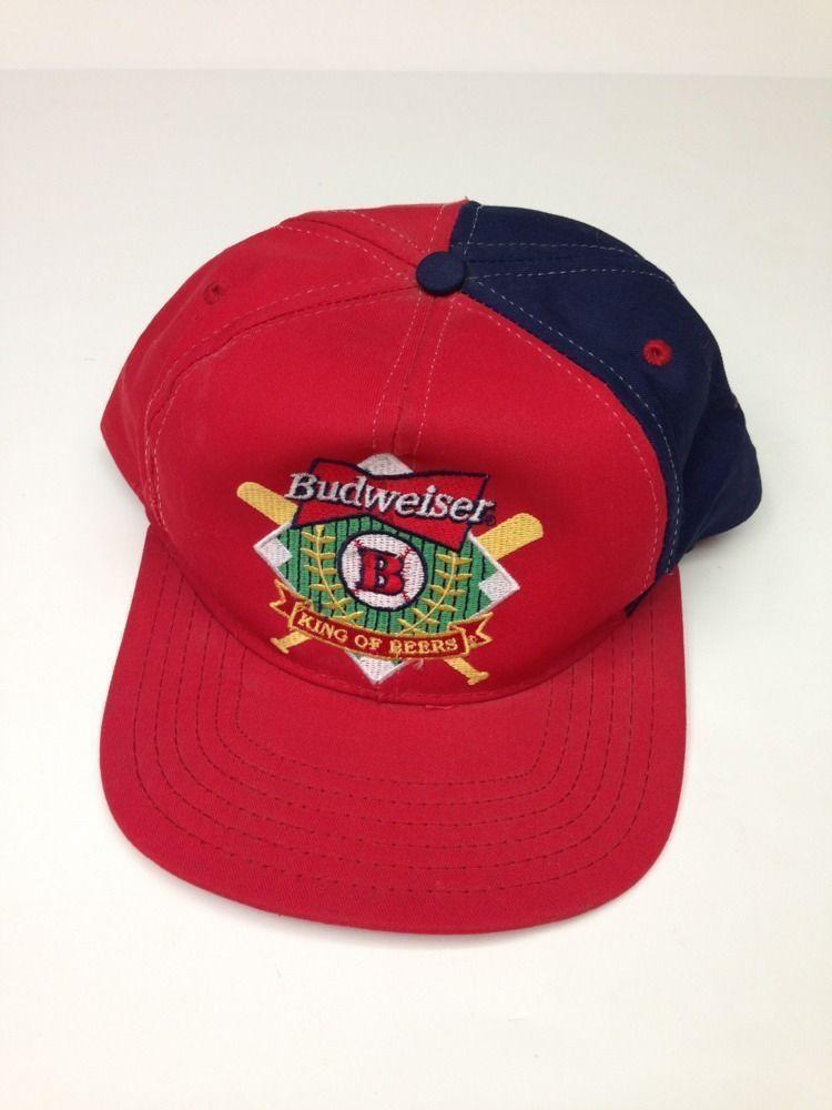 f16e31f6b92 Vintage Budweiser Baseball Cap Hat Embroidery Infield Base Line Snap Back  Bat  Budweiser  BaseballCap