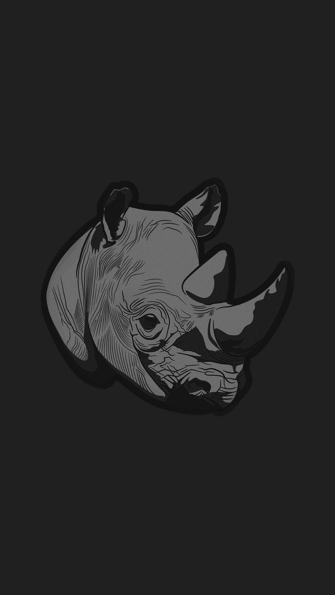 Thoughtful Rhino Dark Minimal Illust Art Iphone 7 Wallpaper Minimalist Animal Ipad Wallpaper Iphone 6 Wallpaper