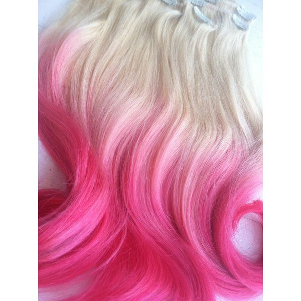 Dip Dye Ombre Hair Extensions Cotton Candy Pink Blonde Hair