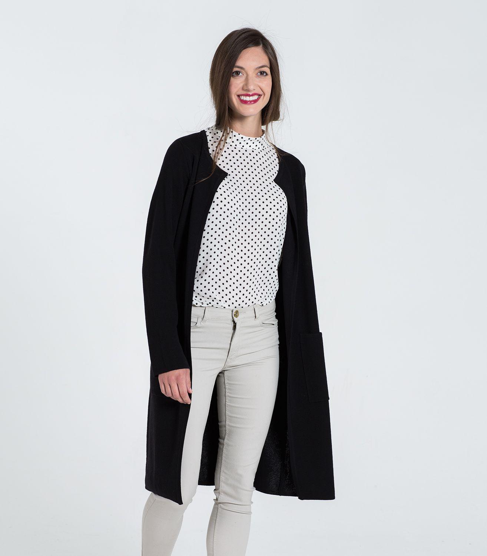 Lange Milano-Strickjacke aus 100 % Merinowolle für Damen ...