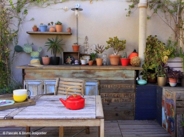 Terrasse recup   Pallettes   Pinterest   Déco et Hauts